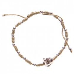 Bracelet Marron Taupe Tête de Bouddha Chinois