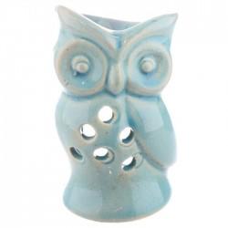 Mini Brûleur A Huile Céramique Hibou Bleu