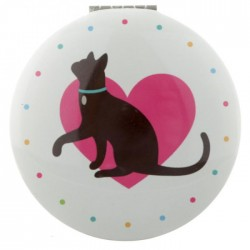 Miroir Rond Chat Coeur Rouge