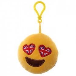 Porte-clés Moelleux Smiley Emoti Yeux Drapeau Anglais avec Son