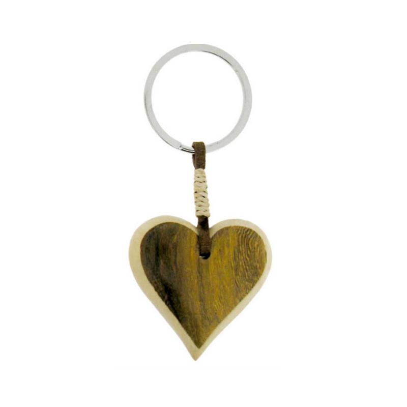 Porte cl s coeur en bois marron kaki marcoeagle - Porte cles en bois ...