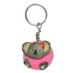 Porte-Clés Pompon Rose Koala en Bois