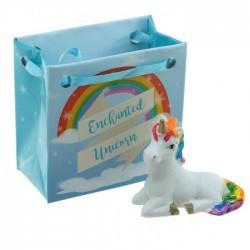 Mini Figurine Licorne Arc-en-Ciel dans petit sac cadeau