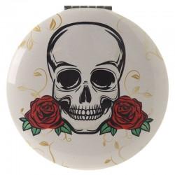 Miroir Blanc Crâne + Roses