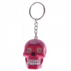 Porte-Clés Crâne Jour des Morts Mexicains Rose Fushia