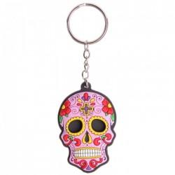 """Porte-Clés """"Jour des Morts Mexicains"""" Rose"""