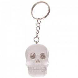 Porte-Clefs Crâne Jour des Morts Mexicains (Blanc avec Strass)