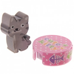 Gomme Chat Gris + Taille Crayon