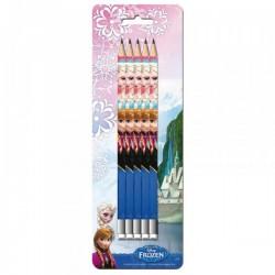 """Set de 5 Crayons à Papier + Gommes """"La Reine des Neiges"""""""