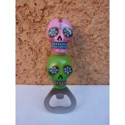 """Décapsuleur """"Jour des Morts Mexicains"""" Rose/Vert"""