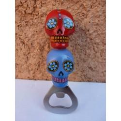 """Décapsuleur """"Jour des Morts Mexicains"""" Rouge/Bleu"""