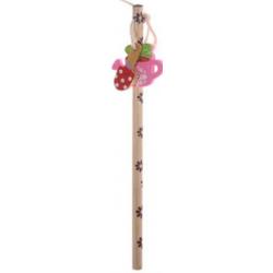 Crayon Design Jardinage avec 2 Mini Gommes Arrosoir et Pelle Rose