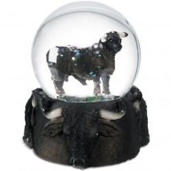 Boule de Neige Figurine Taureau Noir