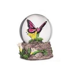 Boule de Neige Figurine Papillon Rose