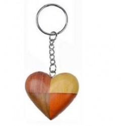 Porte-Clés Coeur en Bois ( 4 couleurs)