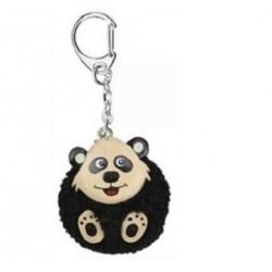 Porte-Clés Pompon Noir Panda en Bois