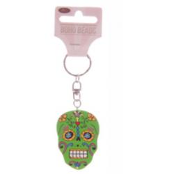"""Porte-Clés en bois """"Jour des Morts Mexicains"""" Vert"""