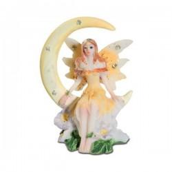 Mini Figurine Fée Jaune sur Lune avec petit sac cadeau