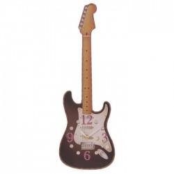 Horloge Découpée Guitare Noire par Ted Smith