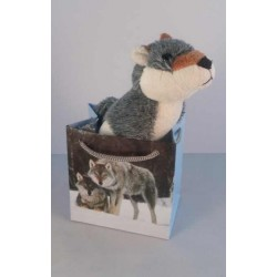 Peluche Husky dans pochette cadeau