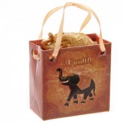 """Eléphant Porte Bonheur """"Richesse"""" avec petit sac cadeau"""