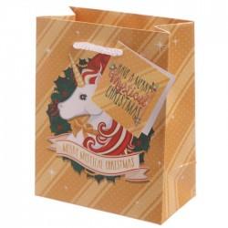Sac Cadeau Licorne de Noël   11 x 6 x 14 cm