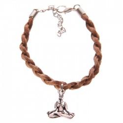 Bracelet Marron Tête de Bouddha Thaï - Faux Cuir