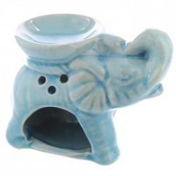 Mini Brûleur A Huile Céramique Eléphant Bleu