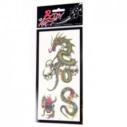 Tatouages Dragons Vert Crâne