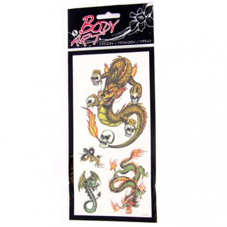 Tatouages Dragons Vert Tête