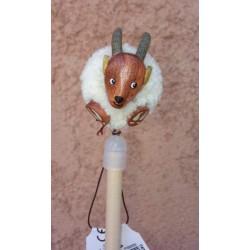 Crayon à Papier Pompon Chèvre en bois