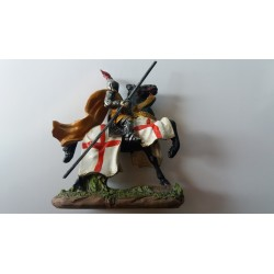 Chevalier des Croisades sur Cheval de Guerre 10 cm