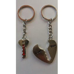"Porte-clés Coeur ""Love You"" & Clé ""I"" Best Friend"