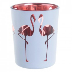 Lot de 2 Porte-bougie Photophore - Flamant Rose