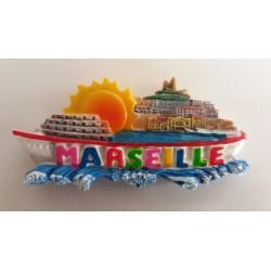 Magnet Résine Marseille Bâteau Soleil Bonne Mère