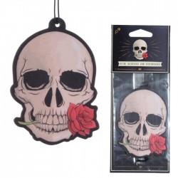 Désodorisant Crâne Gothique avec Rose - Parfum Rose