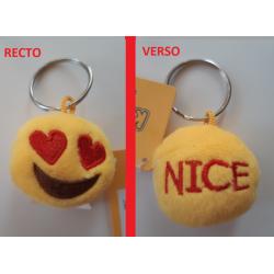 """Porte-clés Moelleux """"Nice"""" Smiley Emoti Amour avec Son"""