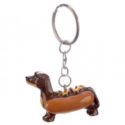 Porte-Clés Chien Hot Dog Moutarde