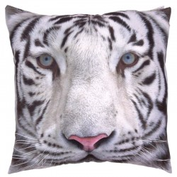Coussin Moelleux Tigre Blanc