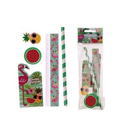 Set Papeterie 5 pièces Flamants Roses - Ananas