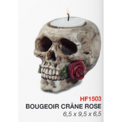Bougeoir Crâne avec rose