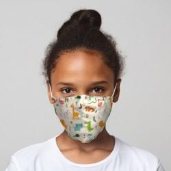 """Masque de Protection Réutilisable Tissu """"Animaux du Zoo"""" (Enfant)"""