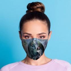 """Masque de Protection Réutilisable Tissu """"Dragon et Licorne"""""""