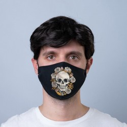 """Masque de Protection Réutilisable Tissu """"Crâne & Roses"""""""