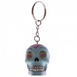 Porte-Clés Crâne Jour des Morts Mexicains Bleu