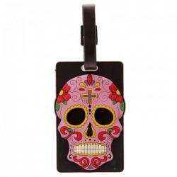 """Etiquette pour Bagage """"Jour des Morts Mexicains"""" (Rose)"""