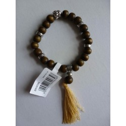 Bracelet Mala Bouddha Marron Vert