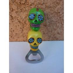 """Décapsuleur """"Jour des Morts Mexicains"""" Vert/Jaune"""