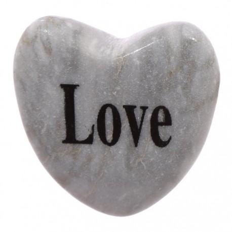 Pierre en Forme de Coeur avec Message LOVE