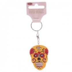 """Porte-Clés en bois """"Jour des Morts Mexicains"""" Jaune"""